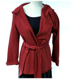 Lucky Brand Red Hooded Wrap Tie Cardigan Small